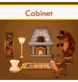 Cabinet with books fireplace and stuffed animals vector image