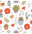 Seamless pattern with plants birds leaves and vector image vector image