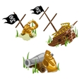 Remains of the ship gold monkey skeleton and gun vector image