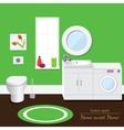 Bathroom interior volume Green background vector image