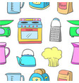doodle of kitchen set pattern style vector image