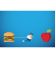 fat man trying walk to red apple health concept vector image
