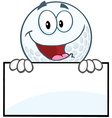 Golf ball character with sign vector image