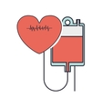 Hanging bag blood conected red heart beat vector image