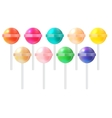 Realistic Sweet Lollipop Candy Set on White vector image