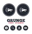 megaphone sign icon loudspeaker strike symbol vector image