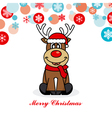 reindeer dressed as santa vector image