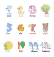 Numbers in the form of animals vector image vector image