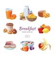 Breakfast food icons in cartoon style vector image