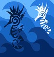 Abstract SeaHorses vector image