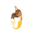 beautiful little mermaid swimming underwater vector image