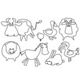 farm animals one line drawing vector image