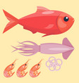 fresh seafood flat fish vector image