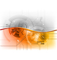 orange wave on the tech background vector image