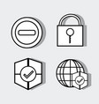 set technology elements with security icons vector image