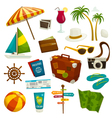 Travel object set isolated on white cartoon vector image