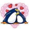 valentine penguins vector image vector image