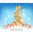 happy easter eggs and bunny winter background vector image