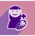 Modern flat icon with long shadow Mother and child vector image