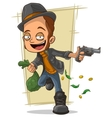 Cartoon cool robber with gun and money vector image
