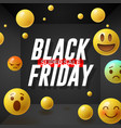 black friday super sale poster with emoticons vector image