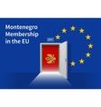 European Union flag wall with Montenegro flag door vector image