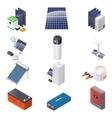 Home solar energy equipment isometric icon set vector image