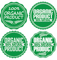 Organic product 100 natural green signs set vector image