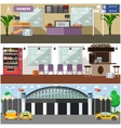 set of airport interior concept design vector image
