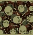skull and bones military pattern skeleton army vector image