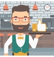 Waiter with like button vector image