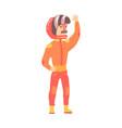 car racing driver man in an orange uniform vector image