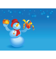 Snowman with cake and gift on blue vector image vector image