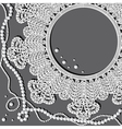 crochet doily with pearl necklace vector image