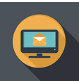 flat icon monitor with symbol a letter envelope vector image