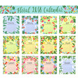 floral calendar with wild flower and berry frame vector image