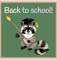 Cartoon raccoon back to school vector image