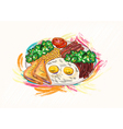 cooked eggs with vegetables vector image vector image