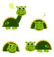Cute green dinosaur set isolated on white vector image vector image