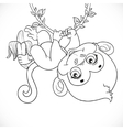Cute baby monkey with banana hanging on the vine vector image