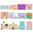 different city public buildings houses facade flat vector image