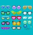 glasses cartoon eyeglasses or sunglasses in vector image