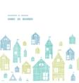 Houses blue green textile texture horizontal frame vector image