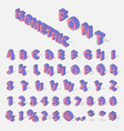 isometric alphabet typerface characters symbols vector image