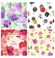 Set of floral backgrounds Seamless floral pattern vector image