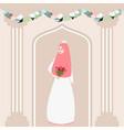 woman girl muslim bride holding flower wearing vector image