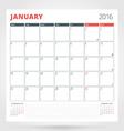 Calendar Planner for 2016 Year January Design vector image