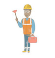 african plumber holding plunger and tool box vector image