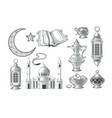set of muslim icons for vector image