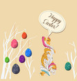 happy easter eggs and doodle bunny greeting card vector image